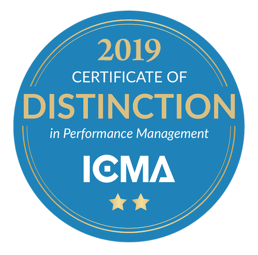WInner of ICMA's Certificate of Distinction in Performance Management