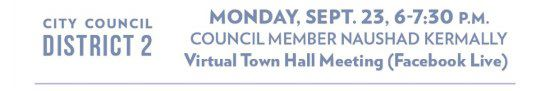 More information on the upcoming City Council District 2 virtual meeting on Monday, September 23